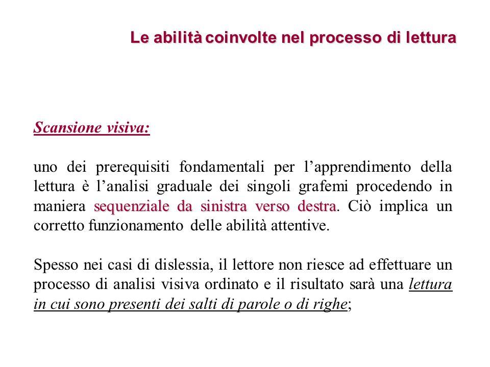 Le abilità coinvolte nel processo di lettura Scansione visiva: sequenziale da sinistra verso destra uno dei prerequisiti fondamentali per lapprendimen