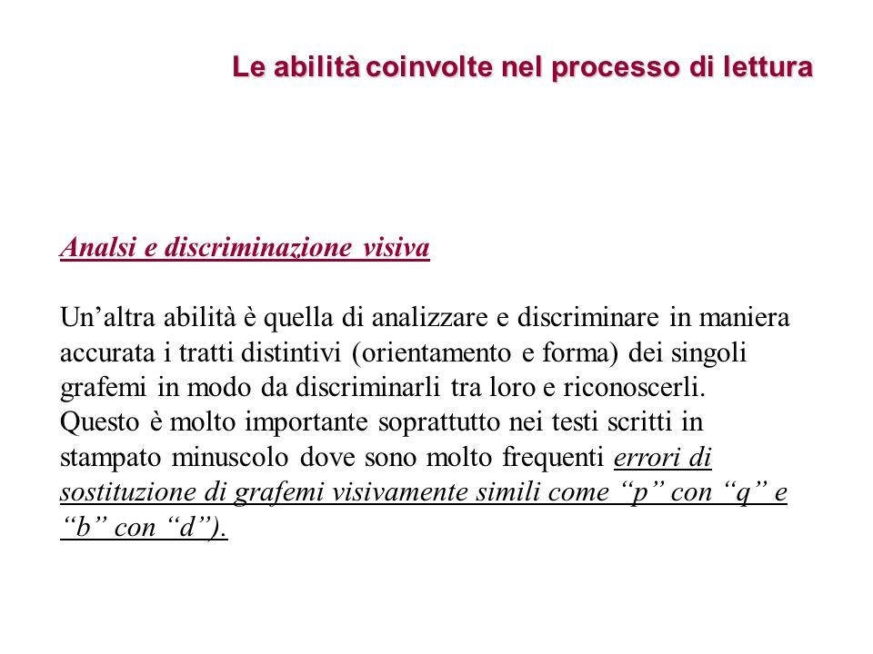 Le abilità coinvolte nel processo di lettura Analsi e discriminazione visiva Unaltra abilità è quella di analizzare e discriminare in maniera accurata