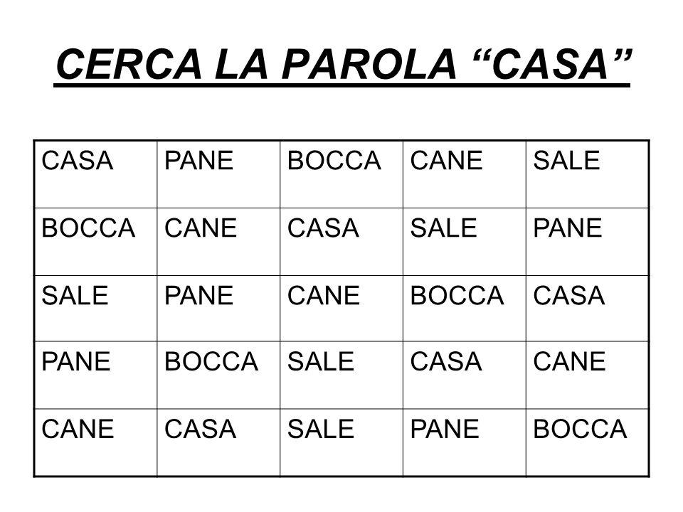 CERCA LA PAROLA CASA CASAPANEBOCCACANESALE BOCCACANECASASALEPANE SALEPANECANEBOCCACASA PANEBOCCASALECASACANE CASASALEPANEBOCCA