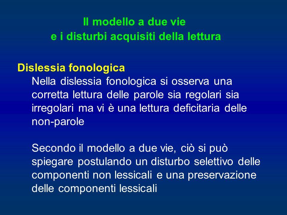 Dislessia fonologica Nella dislessia fonologica si osserva una corretta lettura delle parole sia regolari sia irregolari ma vi è una lettura deficitar