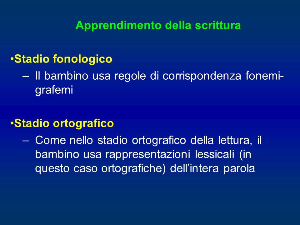 Stadio fonologico –Il bambino usa regole di corrispondenza fonemi- grafemi Stadio ortografico –Come nello stadio ortografico della lettura, il bambino