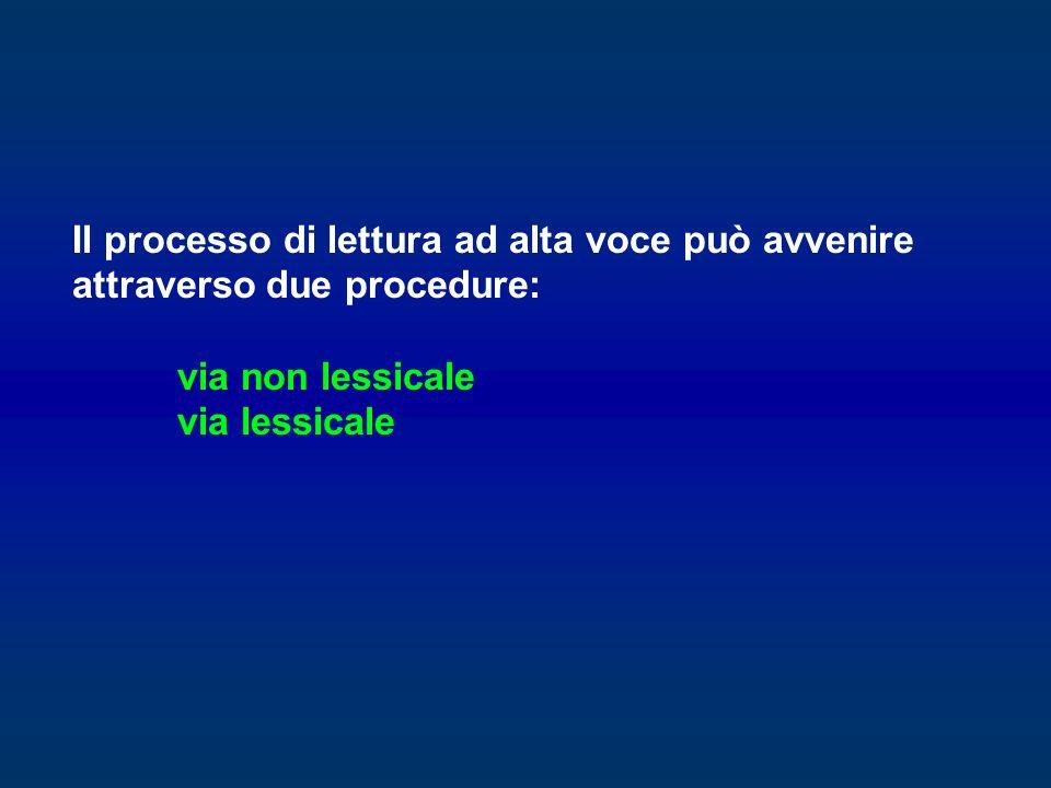 Il processo di lettura ad alta voce può avvenire attraverso due procedure: via non lessicale via lessicale