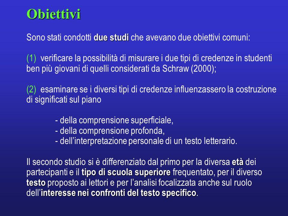 METODOPartecipanti 1° Studio: 1° Studio: 174 studenti (89 femmine e 85 maschi) di tre livelli scolari: quinta elementare, terza media e terza superiore.