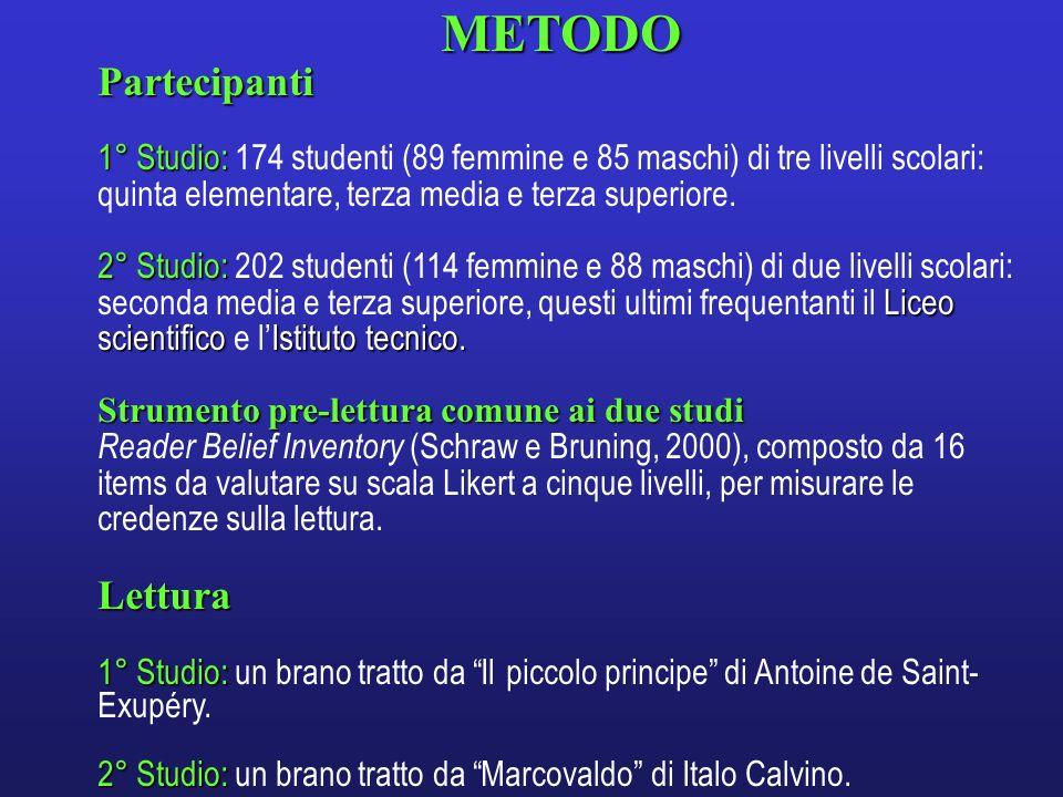 METODOPartecipanti 1° Studio: 1° Studio: 174 studenti (89 femmine e 85 maschi) di tre livelli scolari: quinta elementare, terza media e terza superior