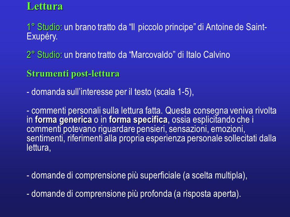 Lettura 1° Studio: 1° Studio: un brano tratto da Il piccolo principe di Antoine de Saint- Exupéry. 2° Studio: 2° Studio: un brano tratto da Marcovaldo