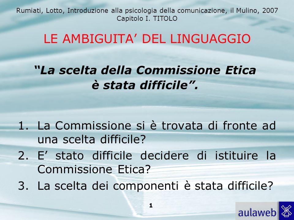 Rumiati, Lotto, Introduzione alla psicologia della comunicazione, il Mulino, 2007 Capitolo I. TITOLO 1 LE AMBIGUITA DEL LINGUAGGIO 1.La Commissione si
