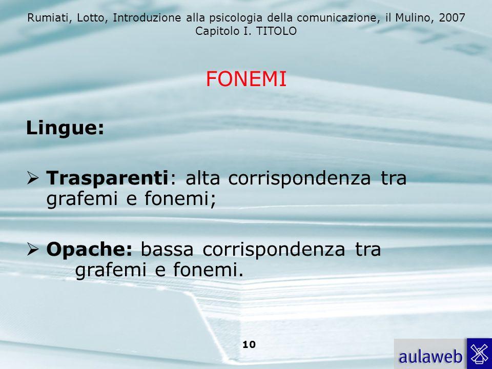 Rumiati, Lotto, Introduzione alla psicologia della comunicazione, il Mulino, 2007 Capitolo I. TITOLO 10 Lingue: Trasparenti: alta corrispondenza tra g