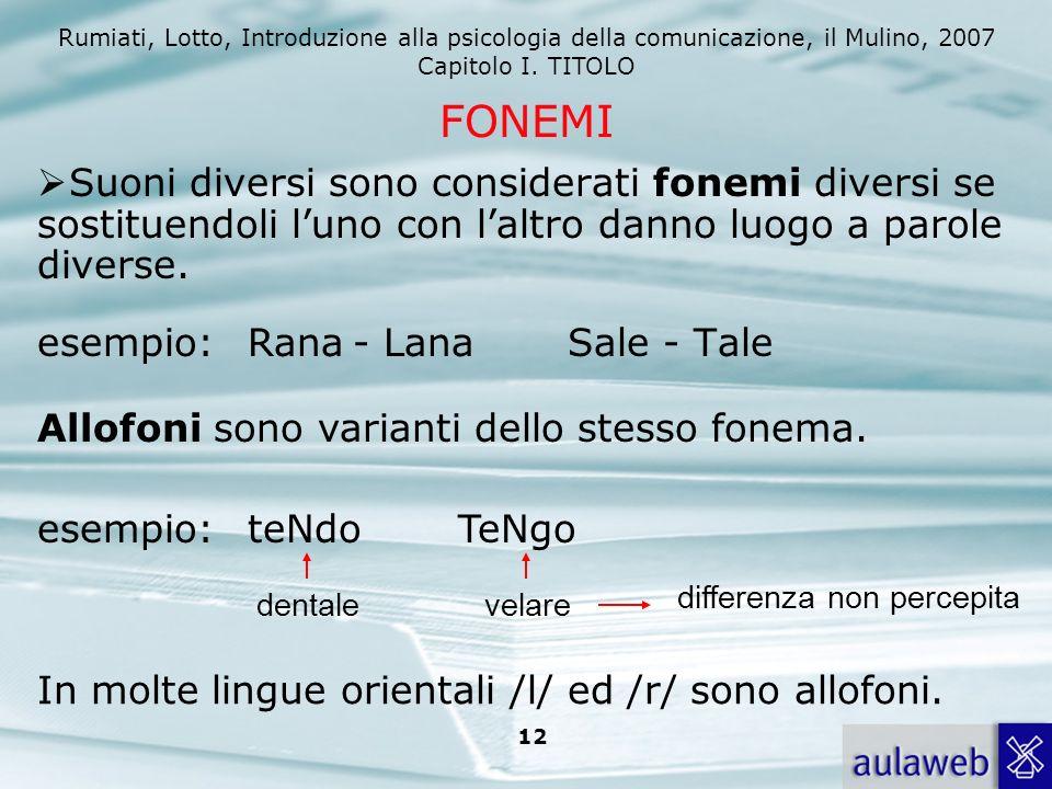 Rumiati, Lotto, Introduzione alla psicologia della comunicazione, il Mulino, 2007 Capitolo I. TITOLO 12 FONEMI Suoni diversi sono considerati fonemi d