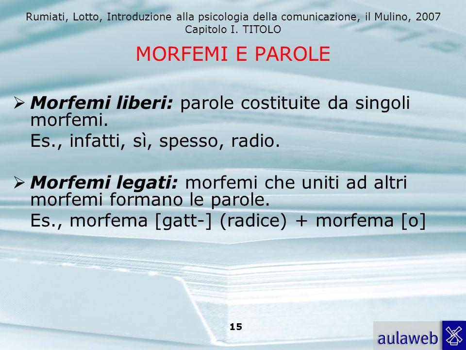 Rumiati, Lotto, Introduzione alla psicologia della comunicazione, il Mulino, 2007 Capitolo I. TITOLO 15 MORFEMI E PAROLE Morfemi liberi: parole costit
