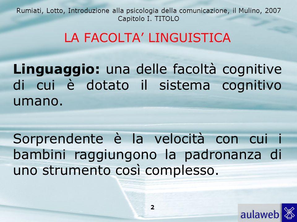 Rumiati, Lotto, Introduzione alla psicologia della comunicazione, il Mulino, 2007 Capitolo I. TITOLO 2 LA FACOLTA LINGUISTICA Linguaggio: una delle fa