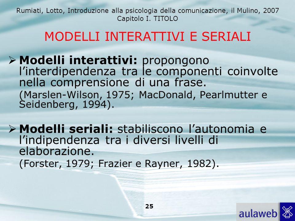 Rumiati, Lotto, Introduzione alla psicologia della comunicazione, il Mulino, 2007 Capitolo I. TITOLO 25 MODELLI INTERATTIVI E SERIALI Modelli interatt