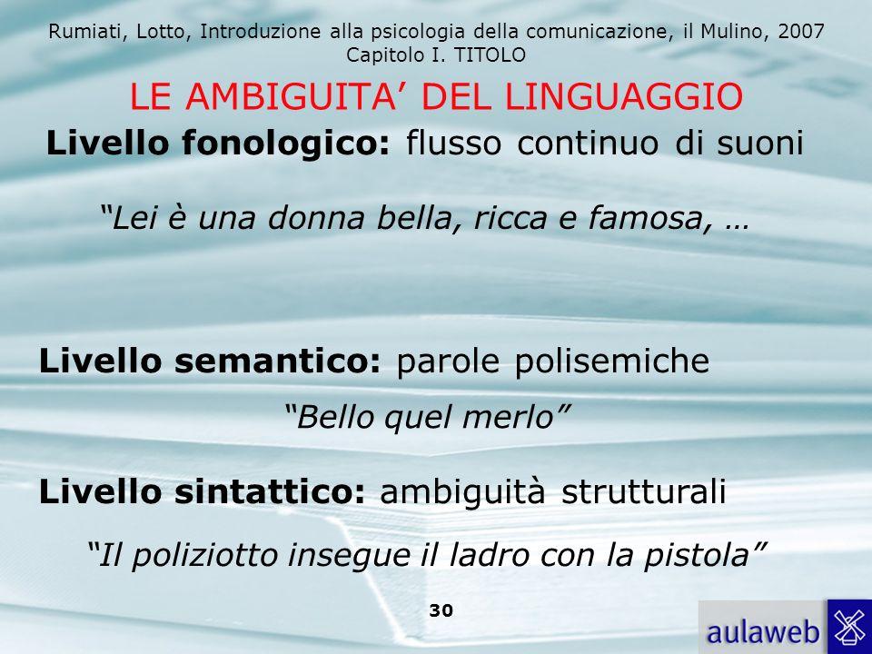 Rumiati, Lotto, Introduzione alla psicologia della comunicazione, il Mulino, 2007 Capitolo I. TITOLO 30 LE AMBIGUITA DEL LINGUAGGIO Livello fonologico