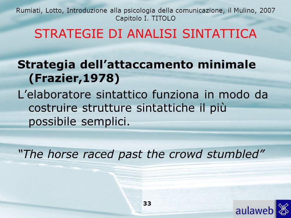 Rumiati, Lotto, Introduzione alla psicologia della comunicazione, il Mulino, 2007 Capitolo I. TITOLO 33 STRATEGIE DI ANALISI SINTATTICA Strategia dell