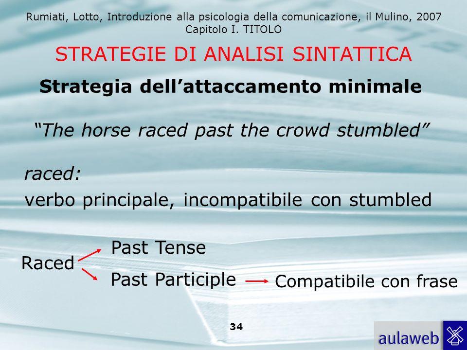 Rumiati, Lotto, Introduzione alla psicologia della comunicazione, il Mulino, 2007 Capitolo I. TITOLO 34 STRATEGIE DI ANALISI SINTATTICA raced: verbo p