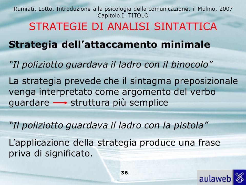 Rumiati, Lotto, Introduzione alla psicologia della comunicazione, il Mulino, 2007 Capitolo I. TITOLO 36 STRATEGIE DI ANALISI SINTATTICA Strategia dell
