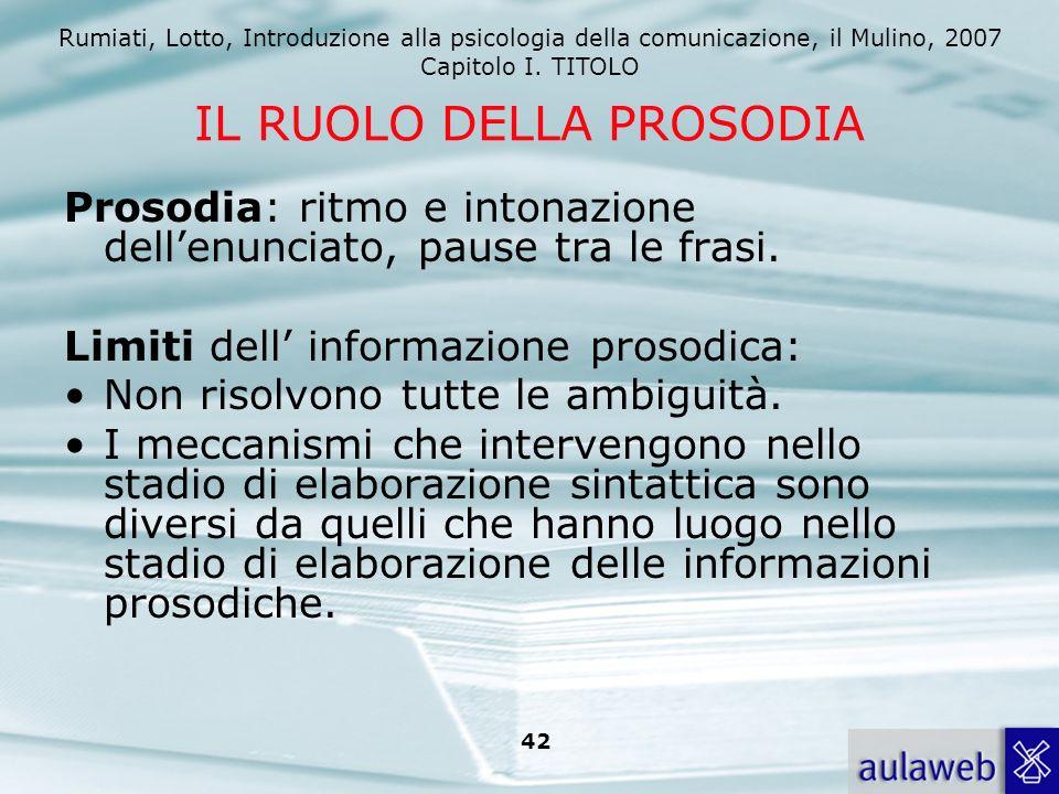 Rumiati, Lotto, Introduzione alla psicologia della comunicazione, il Mulino, 2007 Capitolo I. TITOLO 42 IL RUOLO DELLA PROSODIA Prosodia: ritmo e into