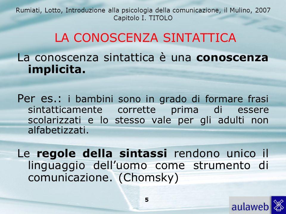 Rumiati, Lotto, Introduzione alla psicologia della comunicazione, il Mulino, 2007 Capitolo I. TITOLO 5 LA CONOSCENZA SINTATTICA La conoscenza sintatti