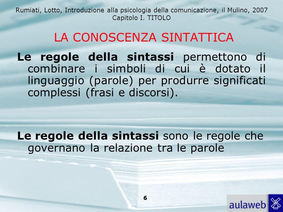 Rumiati, Lotto, Introduzione alla psicologia della comunicazione, il Mulino, 2007 Capitolo I. TITOLO 6 LA CONOSCENZA SINTATTICA Le regole della sintas