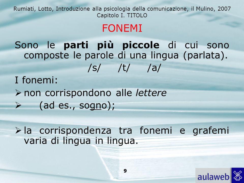 Rumiati, Lotto, Introduzione alla psicologia della comunicazione, il Mulino, 2007 Capitolo I. TITOLO 9 Sono le parti più piccole di cui sono composte