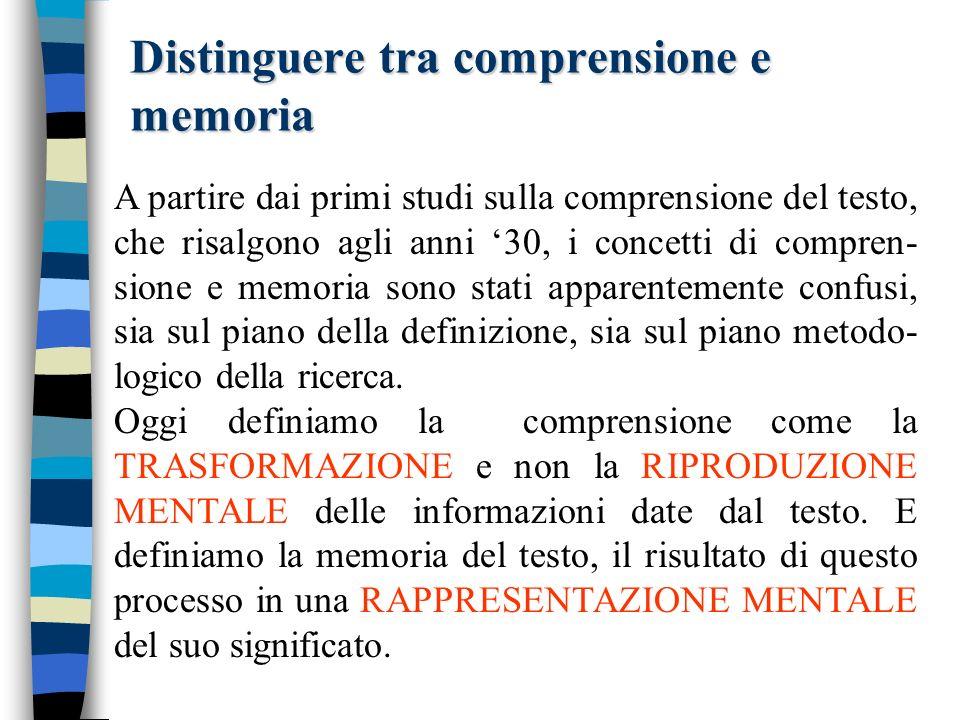 Distinguere tra comprensione e memoria A partire dai primi studi sulla comprensione del testo, che risalgono agli anni 30, i concetti di compren- sione e memoria sono stati apparentemente confusi, sia sul piano della definizione, sia sul piano metodo- logico della ricerca.