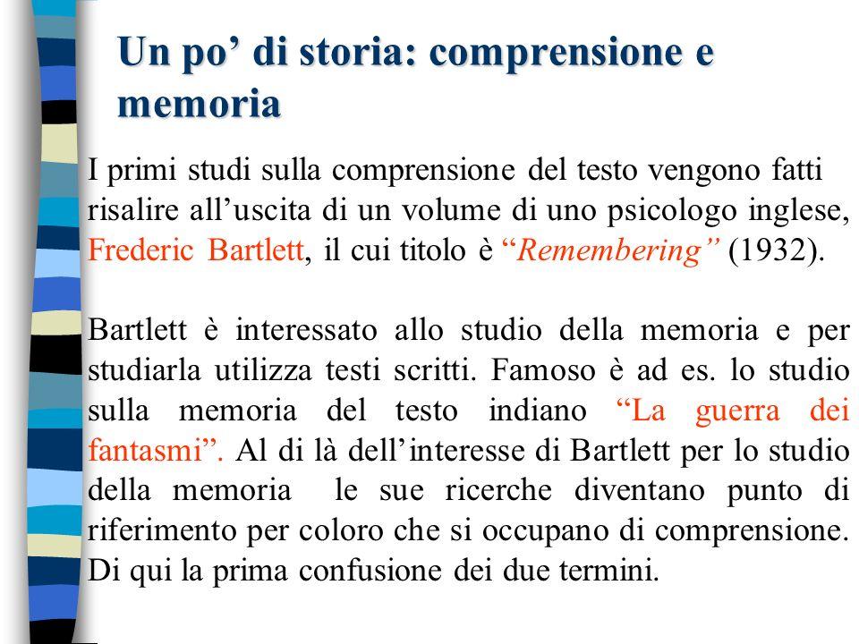 Un po di storia: comprensione e memoria I primi studi sulla comprensione del testo vengono fatti risalire alluscita di un volume di uno psicologo inglese, Frederic Bartlett, il cui titolo è Remembering (1932).