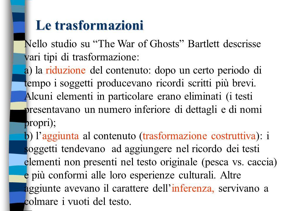 Le trasformazioni Nello studio su The War of Ghosts Bartlett descrisse vari tipi di trasformazione: a) la riduzione del contenuto: dopo un certo periodo di tempo i soggetti producevano ricordi scritti più brevi.