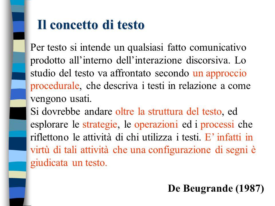 Il concetto di testo Per testo si intende un qualsiasi fatto comunicativo prodotto allinterno dellinterazione discorsiva.