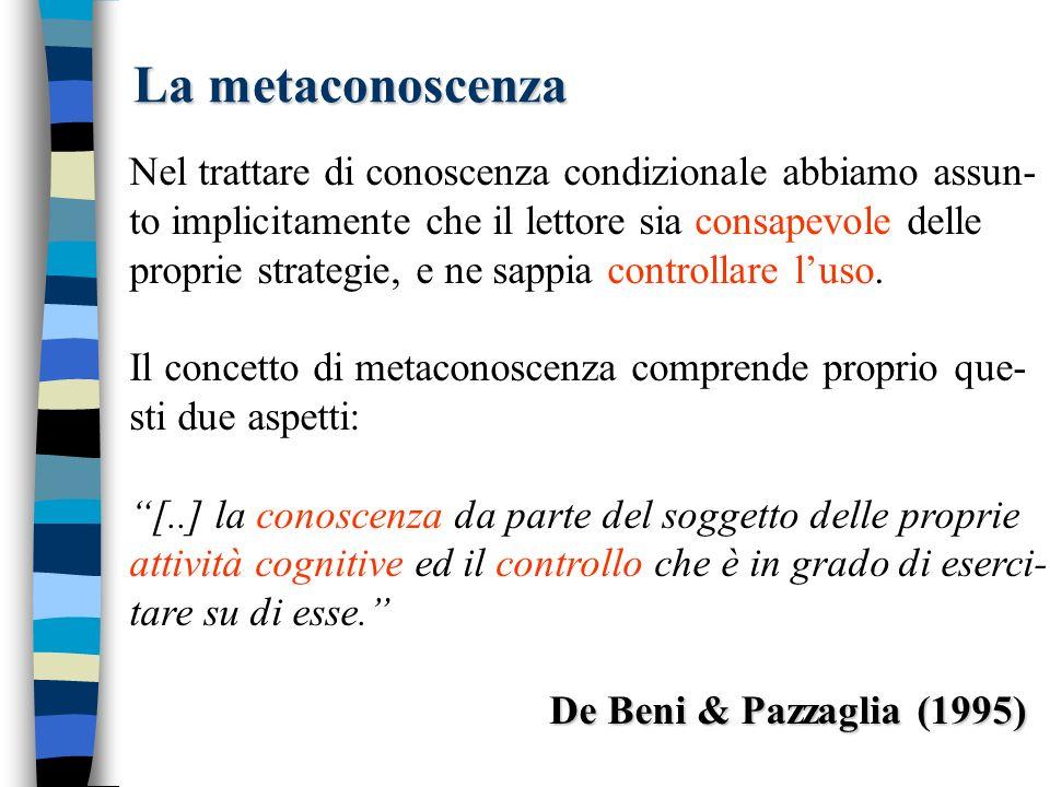 La metaconoscenza Nel trattare di conoscenza condizionale abbiamo assun- to implicitamente che il lettore sia consapevole delle proprie strategie, e ne sappia controllare luso.