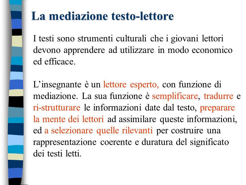 La mediazione testo-lettore I testi sono strumenti culturali che i giovani lettori devono apprendere ad utilizzare in modo economico ed efficace.