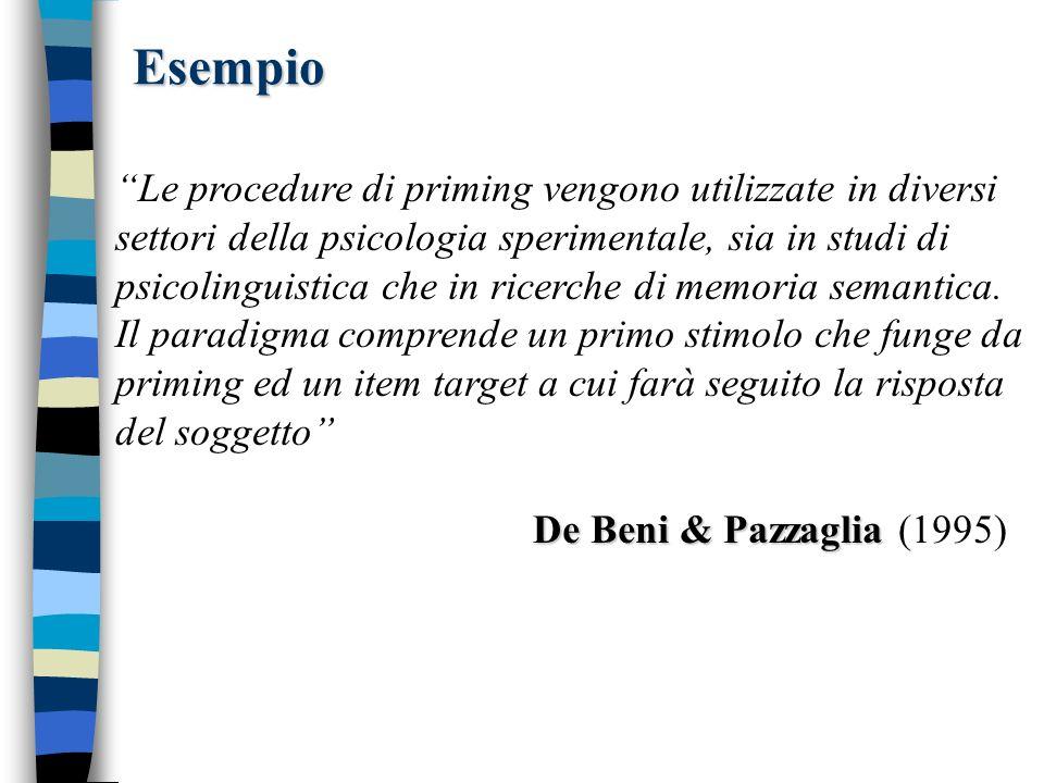 Esempio Le procedure di priming vengono utilizzate in diversi settori della psicologia sperimentale, sia in studi di psicolinguistica che in ricerche di memoria semantica.