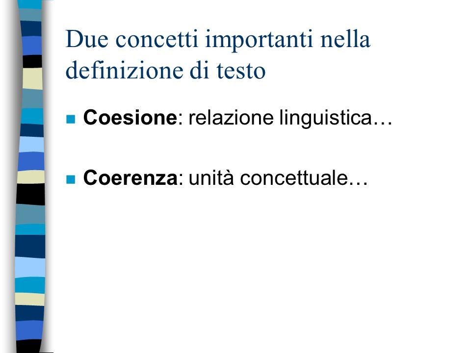 Due concetti importanti nella definizione di testo n Coesione: relazione linguistica… n Coerenza: unità concettuale…