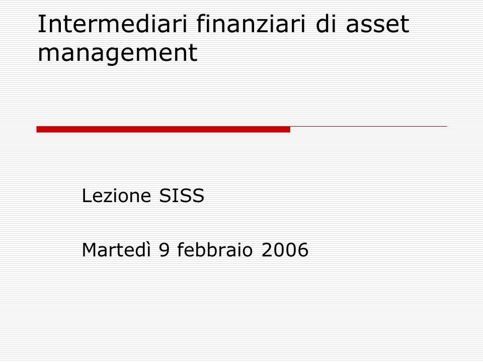 Intermediari finanziari di asset management Lezione SISS Martedì 9 febbraio 2006