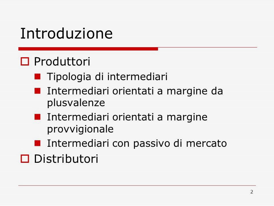 2 Introduzione Produttori Tipologia di intermediari Intermediari orientati a margine da plusvalenze Intermediari orientati a margine provvigionale Intermediari con passivo di mercato Distributori