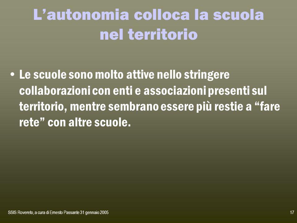 SSIS Rovereto, a cura di Ernesto Passante 31 gennaio 200517 Lautonomia colloca la scuola nel territorio Le scuole sono molto attive nello stringere co