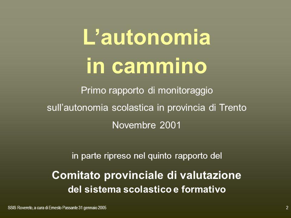 SSIS Rovereto, a cura di Ernesto Passante 31 gennaio 20052 Lautonomia in cammino Primo rapporto di monitoraggio sullautonomia scolastica in provincia
