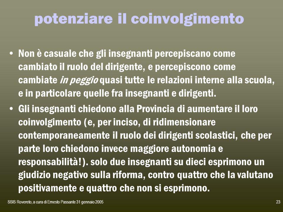 SSIS Rovereto, a cura di Ernesto Passante 31 gennaio 200523 potenziare il coinvolgimento Non è casuale che gli insegnanti percepiscano come cambiato i