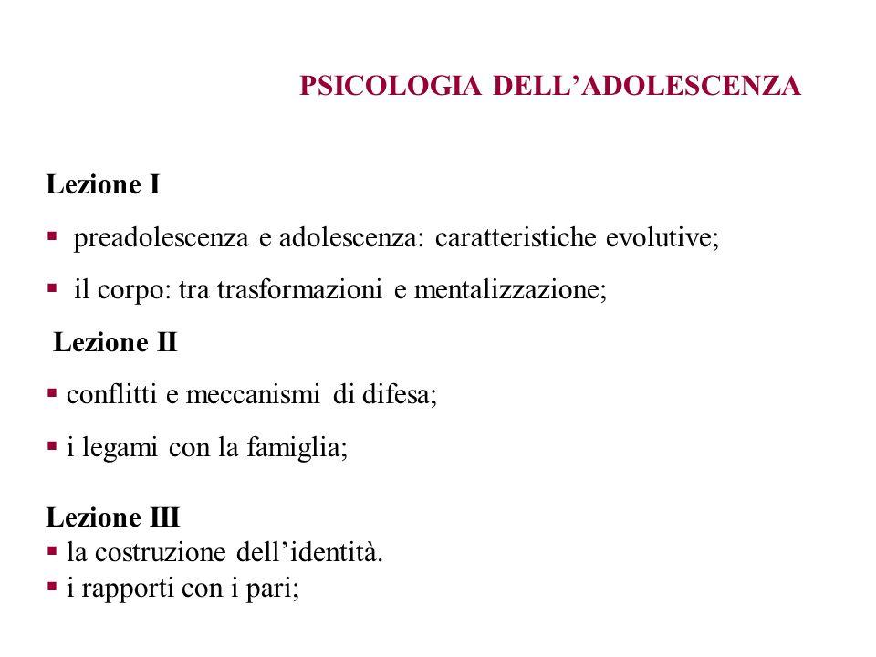 PSICOLOGIA DELLADOLESCENZA Lezione I preadolescenza e adolescenza: caratteristiche evolutive; il corpo: tra trasformazioni e mentalizzazione; Lezione