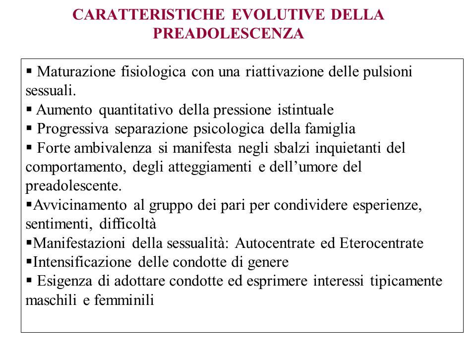 CARATTERISTICHE EVOLUTIVE DELLA PREADOLESCENZA Maturazione fisiologica con una riattivazione delle pulsioni sessuali. Aumento quantitativo della press