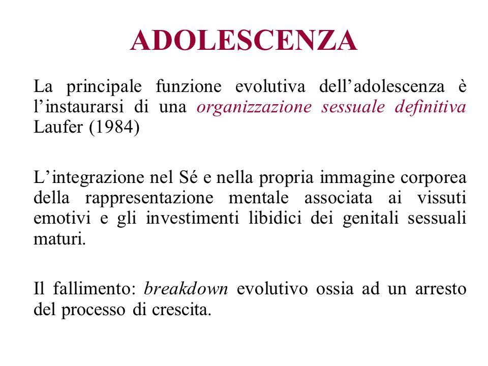 ADOLESCENZA La principale funzione evolutiva delladolescenza è linstaurarsi di una organizzazione sessuale definitiva Laufer (1984) Lintegrazione nel