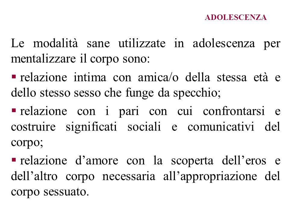ADOLESCENZA Le modalità sane utilizzate in adolescenza per mentalizzare il corpo sono: relazione intima con amica/o della stessa età e dello stesso se