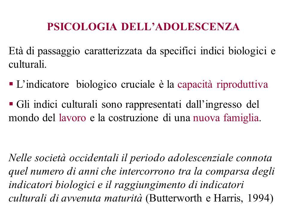 PSICOLOGIA DELLADOLESCENZA Età di passaggio caratterizzata da specifici indici biologici e culturali. Lindicatore biologico cruciale è la capacità rip