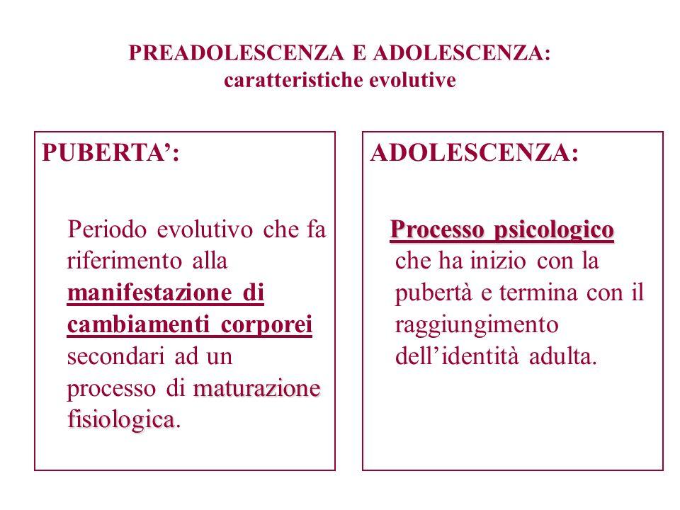 PREADOLESCENZA E ADOLESCENZA: caratteristiche evolutive ADOLESCENZA: Processo psicologico Processo psicologico che ha inizio con la pubertà e termina