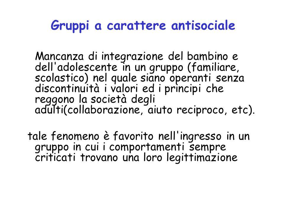 Gruppi a carattere antisociale Mancanza di integrazione del bambino e dell'adolescente in un gruppo (familiare, scolastico) nel quale siano operanti s