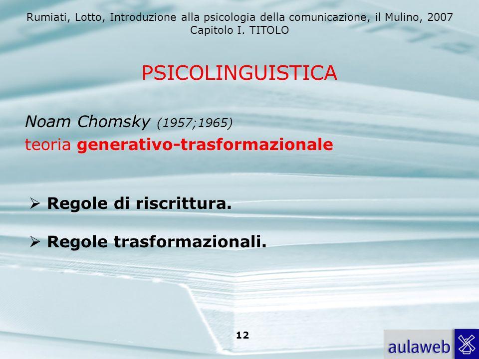 Rumiati, Lotto, Introduzione alla psicologia della comunicazione, il Mulino, 2007 Capitolo I. TITOLO 12 Noam Chomsky (1957;1965) teoria generativo-tra