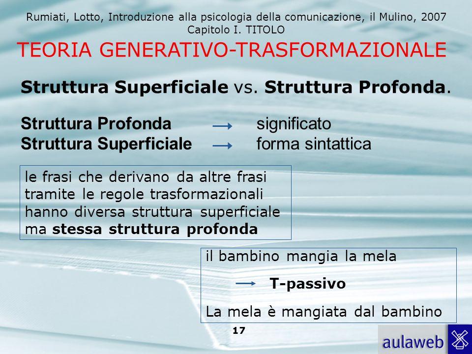 Rumiati, Lotto, Introduzione alla psicologia della comunicazione, il Mulino, 2007 Capitolo I. TITOLO 17 Struttura Superficiale vs. Struttura Profonda.