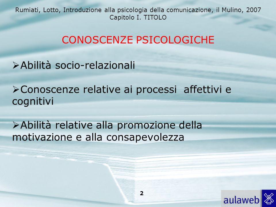 Rumiati, Lotto, Introduzione alla psicologia della comunicazione, il Mulino, 2007 Capitolo I. TITOLO 2 CONOSCENZE PSICOLOGICHE Abilità socio-relaziona