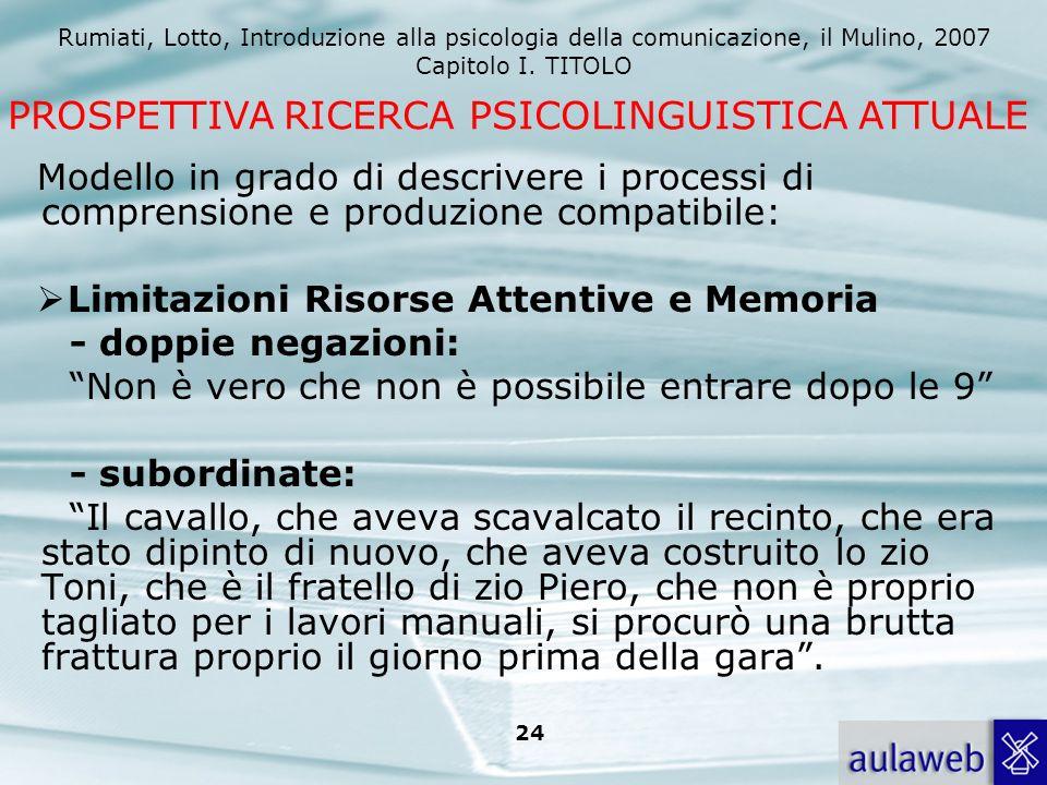 Rumiati, Lotto, Introduzione alla psicologia della comunicazione, il Mulino, 2007 Capitolo I. TITOLO 24 Modello in grado di descrivere i processi di c