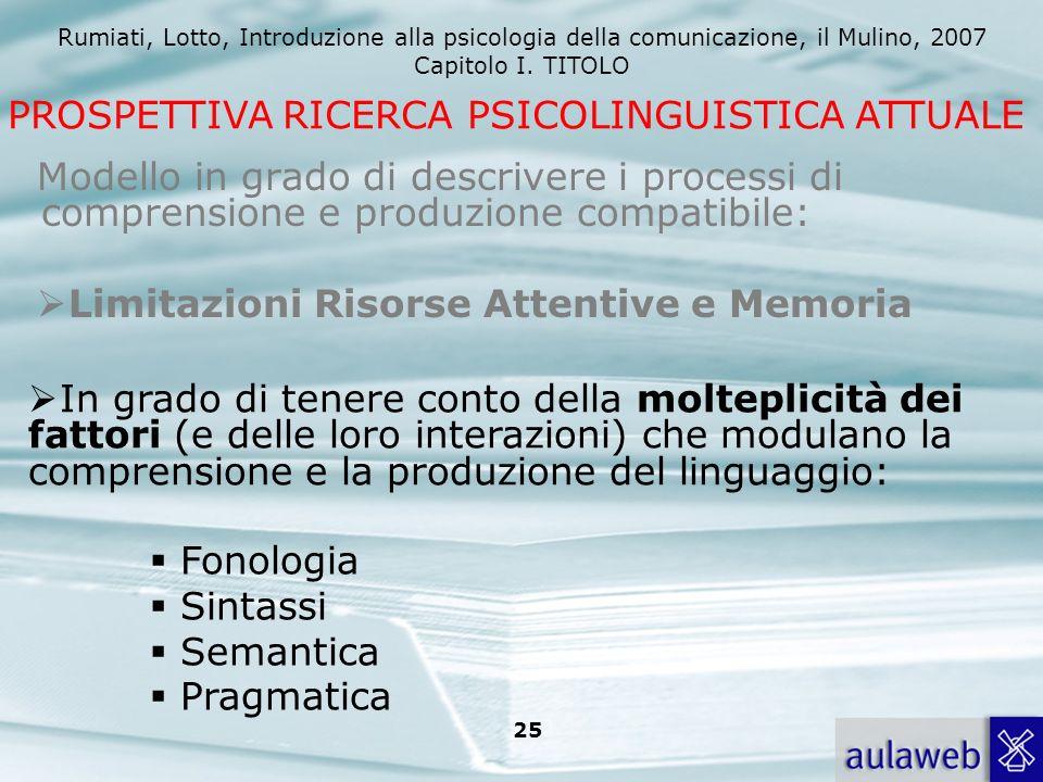 Rumiati, Lotto, Introduzione alla psicologia della comunicazione, il Mulino, 2007 Capitolo I. TITOLO 25 Modello in grado di descrivere i processi di c