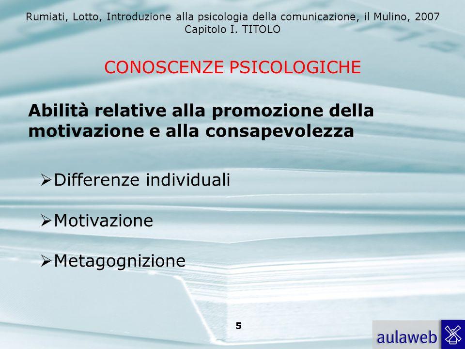 Rumiati, Lotto, Introduzione alla psicologia della comunicazione, il Mulino, 2007 Capitolo I. TITOLO 5 CONOSCENZE PSICOLOGICHE Abilità relative alla p