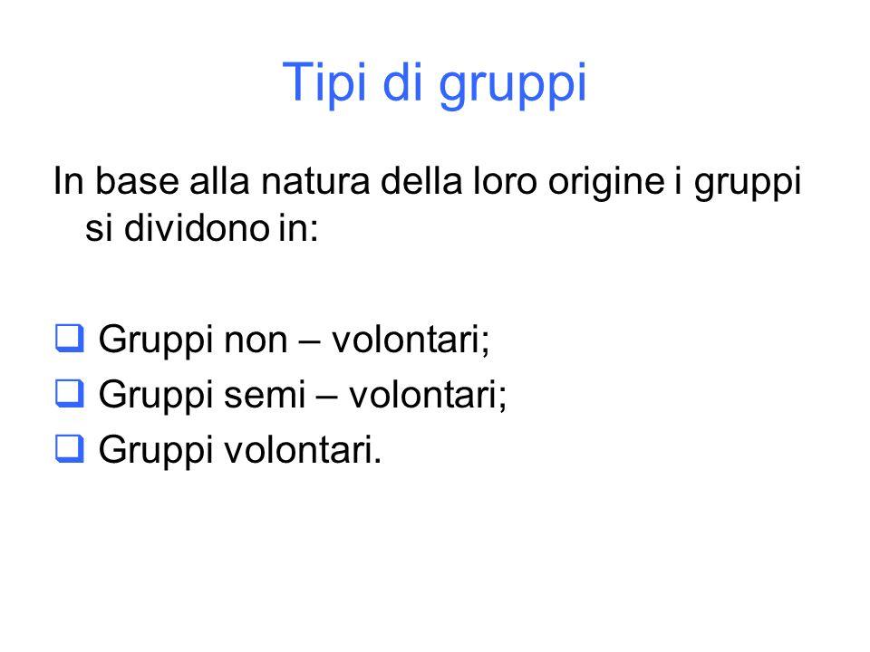 Tipi di gruppi In base alla natura della loro origine i gruppi si dividono in: Gruppi non – volontari; Gruppi semi – volontari; Gruppi volontari.